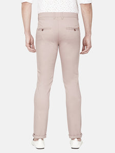 Men's Stretchable Slim-fit Dobby Casual Trousers-H4635BNude