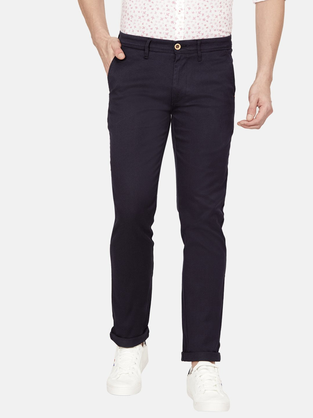 Men's Stretchable Slim-fit Casual Trousers-H4636BNavy Blue