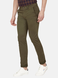 Men's Stretchable Cotton Slim-fit Trousers-H4649BOlive
