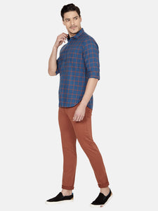 Men's Stretchable Slim-fit Casual Trousers-H4649BRust