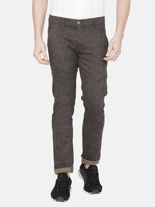 Men's Slim-fit Stretchable Printed Casual Trousers-MJ831Olive