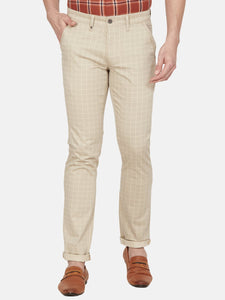 Men's Stretchable Slim-fit Printed Casual Trousers-MJ851Beige