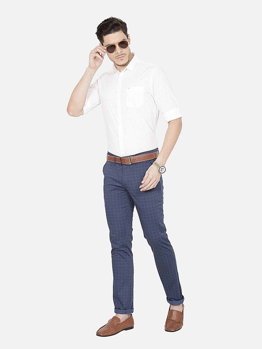 Men's Stretchable Slim-fit Printed Casual Trousers-MJ851Dark_Blue