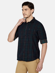 Men's Cotton Slim-fit Checked Casual Shirt-MS4773FGreen