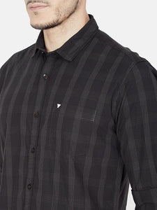 Men's Cotton Slim-fit Casual Shirt-OJN1064FBlack