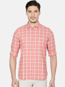 Men's Cotton Slim-fit Casual Shirt-OJN1075FCoral