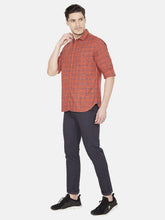 Load image into Gallery viewer, Men's Cotton Slim-fit Checked Casual Shirt-OJN1077FRust