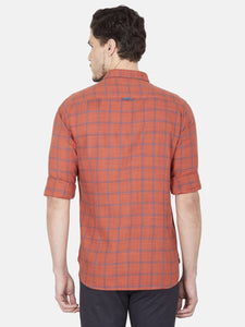 Men's Cotton Slim-fit Checked Casual Shirt-OJN1077FRust
