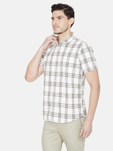 Men's Half-sleeve Slim-fit Checked Casual Shirt-OJN1085HOlive