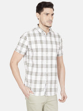 Load image into Gallery viewer, Men's Half-sleeve Slim-fit Checked Casual Shirt-OJN1085HOlive