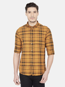 Men's Cotton Slim-fit Checked Casual Shirt-OJN1091FBronze