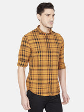 Load image into Gallery viewer, Men's Cotton Slim-fit Checked Casual Shirt-OJN1091FBronze