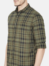 Load image into Gallery viewer, Men's Cotton Slim-fit Checked Casual Shirt-OJN1091FOlive