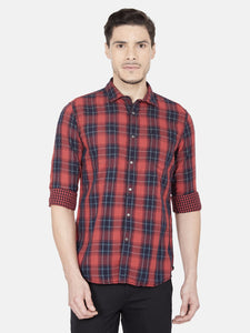 Men's Cotton Slim-fit Checked Casual Shirt-OJN1096FRed