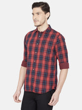 Load image into Gallery viewer, Men's Cotton Slim-fit Checked Casual Shirt-OJN1096FRed