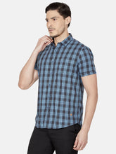 Load image into Gallery viewer, Men's Cotton Slim-fit Checked Casual Shirt-OJN1106HCobalt Blue
