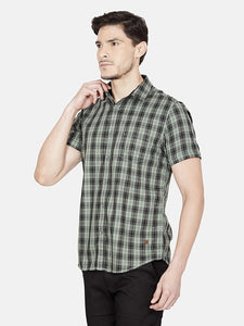 Men's Cotton Slim-fit Casual Shirt-OJN1106HGreen