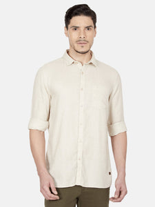 Men's Full-sleeve Slim-fit Casual Shirt-OJN1111FBeige