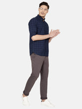 Load image into Gallery viewer, Men's Slim-fit Check Casual Shirt-OJN1130FNavy Blue