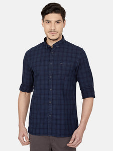 Men's Slim-fit Check Casual Shirt-OJN1130FNavy Blue