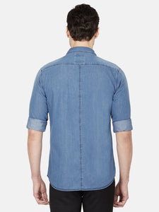 Men's Slim-fit Plain Casual Shirt-OJN1143FBlue