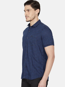 Men's Printed Casual Shirt-OJN1153HDark Blue