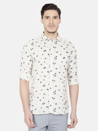 Men's Slim-fit Printed Casual Shirt-OJN1169FBeige