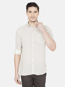 Men's Printed Cotton Slim-fit Casual Shirt-OJN1184FNatural