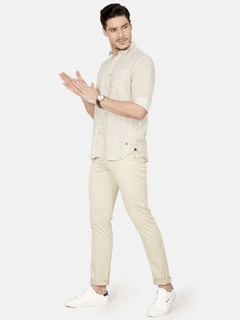 Men's Cotton Slim-fit Printed Casual Shirt-OJN1185FBeige