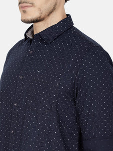 Men's Cotton Slim-fit Casual Shirt-OJN1228FNavy Blue