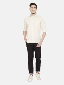 Men's Cotton Slim-fit Casual Shirt-OJN1239FBeige