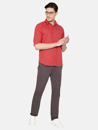 Men's Cotton Slim-fit Solid Casual Shirt-OJN1239FRed