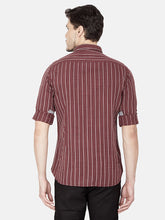 Load image into Gallery viewer, Men's Striped Slim-fit Casual Shirt-OJN1246FMaroon