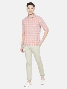 Men's Cotton Slim-fit Checked Casual Shirt-OJN1258FCoral