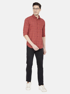 Men's Full-sleeve Slim-fit Casual Shirt-OJN1261FRust