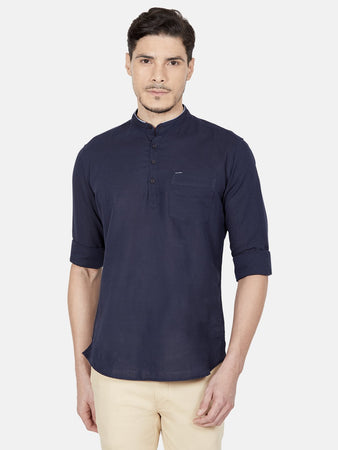 Men's Slim-fit Casual Shirt-OJN1293FDark_Blue