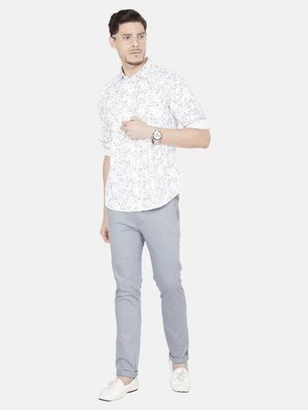 Men's Cotton Slim-fit Printed Casual Shirt-OJN1409FBlue