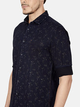Load image into Gallery viewer, Men's Cotton Slim-fit Printed Casual Shirt-OJN1411FNavy Blue