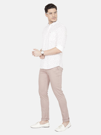 Men's Slim-fit Cotton Casual Shirt-OJN1412FPeach
