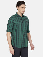 Load image into Gallery viewer, Men's Cotton Slim-fit Checked Casual Shirt-OJN1413FGreen