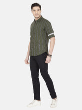 Load image into Gallery viewer, Men's Cotton Slim-fit Striped Casual Shirt-OJN1414FOlive