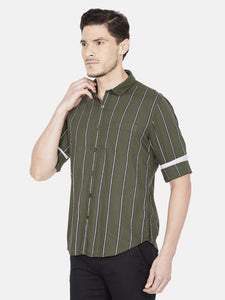 Men's Cotton Slim-fit Striped Casual Shirt-OJN1414FRed