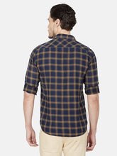 Load image into Gallery viewer, Men's Slim-fit Check Casual Shirt-OJN1418FNavy Blue