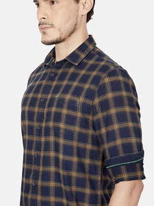 Men's Slim-fit Check Casual Shirt-OJN1418FNavy Blue