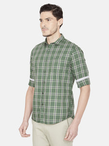 Men's Checked Cotton Casual Shirt-OJN1421FGreen