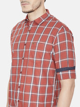 Load image into Gallery viewer, Men's Cotton Slim-fit Checked Casual Shirt-OJN1422FOrange