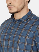 Load image into Gallery viewer, Men's Slim-fit Checked Shirt-OJN1423FBlue