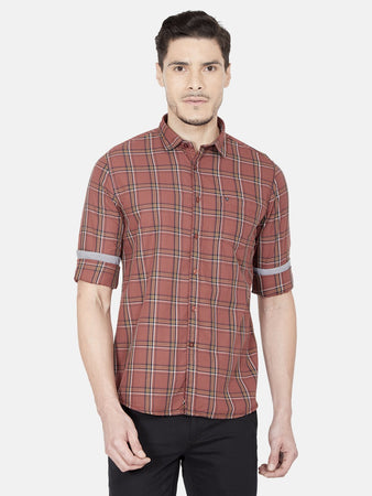Men's Cotton Slim-fit Checked Casual Shirt-OJN1423FCoral
