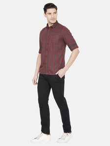 Men's Slim-fit Checked Casual Shirt-OJN1424FMaroon