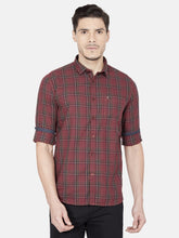 Load image into Gallery viewer, Men's Slim-fit Checked Casual Shirt-OJN1424FMaroon